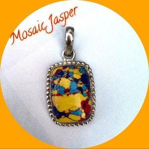 Jewelry - NEW! Artisan Made Silver Mosaic Jasper Pendant